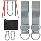 Colisal 1.5m Schaukel Befestigung Set Aufhängung Haken Nylon Hanging Gurt mit 2 Karabinern für Schaukel Hängematten Grau