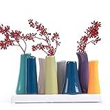 Chive–Reyes 2, Unique en céramique, vase, basse rectangulaire Décoration Moderne Vase pour Home Decor Salon Bureau et table, Vert émeraude Orange Bleu marine