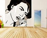 selbstklebende Fototapete - Pop-Art Frau mit Telefon - sephia - sepia - 200x200 cm - Wandtapete – Poster – Dekoration – Wandbild – Wandposter - Bild – Wandbilder - Wanddeko