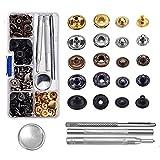 60 set Botones de Presión de Cobre,Cierres a presión de 12,4mm con Herramiento de Reparación para Tela, Manualidades de Cuero