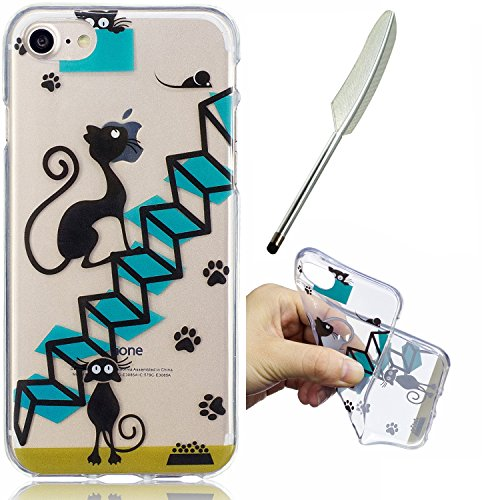 "iPhone 7 4,7"" Silikon Handyhülle, Silikon Hülle für iPhone 7 (4,7 zoll) ,Edaroo Cute Fun LustigKaktusMotiv Bunte Malerei Ultra Slim Dünn Klar durchsichtig Transparent Weich Silikon Gummi TPU Gel Schut Stairs Cat"