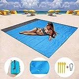 ZMZTEC Couverture de pique-nique 200 x 140 cm, serviette de plage, tapis de camping imperméable, résistant au sable, à séchage rapide et housse de camping compacte pour les voyage