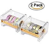 Dometool 2PCS rotolo di nastro washi tape dispenser cutter, nastro desktop organizer, nastro adesivo DIY rotolo di nastro adesivo cutter Holder Storage, marrone