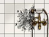 creatisto Fliesen zum Aufkleben | Klebe-Fliesenaufkleber Küchenfliesen Bad-Folie Wanddeko | 15x15 cm Design Motiv Tree and Birds 2-9 Stück