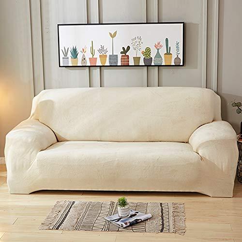TSSCY Sofa Überwurf Plüsch,Stretch hussen Couch-Decken Sofa wirft Stuhl beschützer Möbel Sessel Loveseat Anti-rutsch-Weiß 3 Sitzer/Sofa - Hussen Sessel Stühle