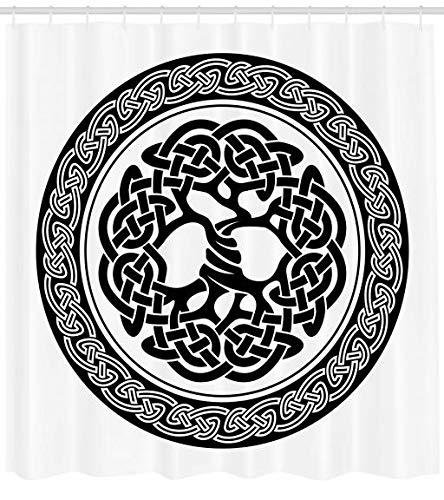 Abakuhaus Duschvorhang, Native Keltischer Baum des Lebens Irland Frühe Renaissance Arts Medaillon...