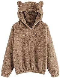Logobeing Chaqueta Suéter Abrigo Jersey Mujer Originales Sudadera de Lana de Manga Larga para Mujer con Forma de Oso Cálido Sudadera con Capucha Difusa Pullover
