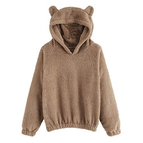 Pullover Hoodie Fleece mit Kapuze MYMYG Sweatshirt Damen Langarmshirt langärmelige Kapuzenpulli Warmer Bären Form flockiger Kapuzenpullover(Braun,EU:34/CN-S)