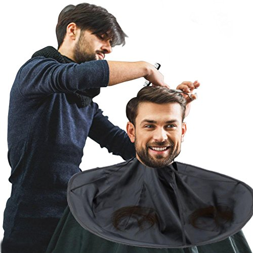 Friseur Umhang, Haar Ausschnitt mhang Regenschirm Salon Friseur Wasserdichter Friseurumhang Friseur Haar für Erwachsenen(Schwarz)