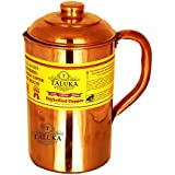 "[Sponsored]Taluka ( 4.2"" X 8.8"" Inches Approx ) Pure Hand Made Best Quality Copper Jug For Water Drinking 100% Pure Copper Jug Pitcher Capacity 1500 Ml Water Storage Serving Drinking Water 