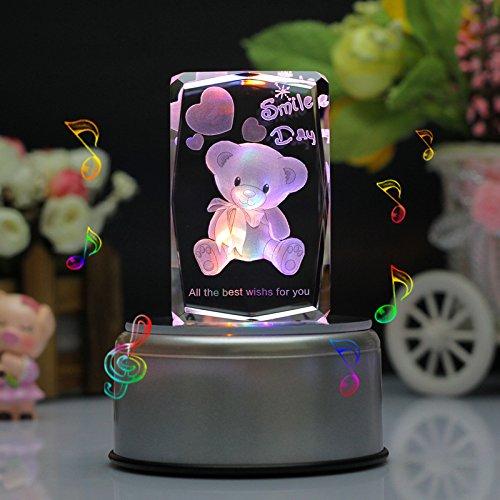 Omped 3D Bär Crystal Music Box leuchtende Ornamente Geburtstag Geschenk Freundin Mädchen Frau Bestie Mädchen Weihnachten kreativ romantischen Valentinstag Geschenk, 18 Musik Base