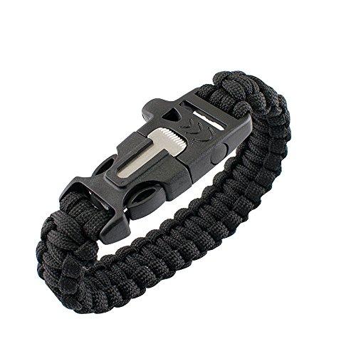 Denshine Überleben Paracord Armband Pfeife Getriebe Feuerstein Feuer Starter Kits Scraper (Schwarz)