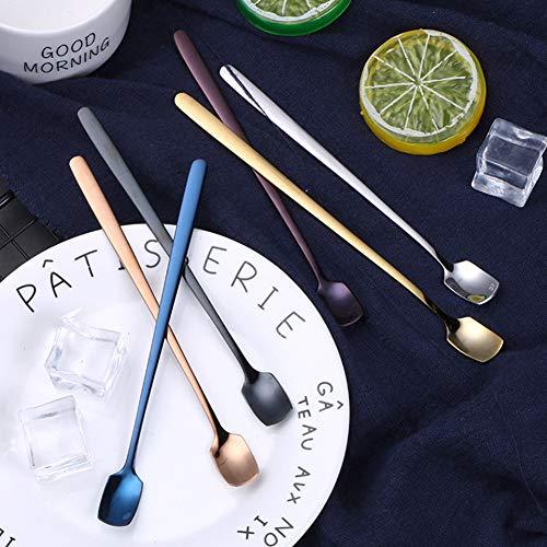 Saniswink Praktische tragbare Küchenutensilien 6 Stück Edelstahl Löffel Küche langer Griff Kaffee Dessert Rührschaufel Einheitsgröße 6pcs (Löffel-halter Für Herd Schwarz)