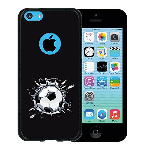 iPhone 5C Hülle, WoowCase Handyhülle Silikon für [ iPhone 5C ] Fußball, der den Wand bricht Handytasche Handy Cover Case Schutzhülle Flexible TPU - Schwarz Housse Gel iPhone 5C Schwarze D0073