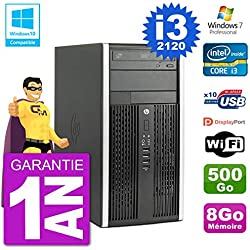 HP PC 6300 MT Intel Core I3-2120 RAM 8Go Disque 500Go Graveur DVD WiFi W7 (Reconditionné)