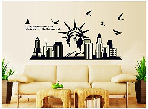 ufengke® Nouvelle Paysages Urbains York Statue de La Liberté Stickers Muraux Fluorescence Brille Dans Le Noir, Salle de Séjour Chambre à Coucher Autocollants Amovibles