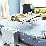 sogesfurniture Höhenverstellbar Laptoptisch Computertisch 120cm breit, Mobiler Schreibtisch PC Tisch Rolltisch Pflegetisch Betttisch mit Rollen, Eiche BHEU-203#2-OK