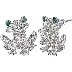 TENYE - Pendientes de tuerca para mujer con cristales austriacos, diseño de rana pequeña, color plateado