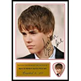 Printed Picks Company Justin Bieber (in suit) Signed Photo and Matching Guitar Pick (Autograph and Plectrum Set)
