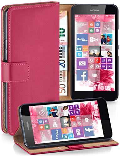 MoEx® Booklet mit Flip Funktion [360 Grad Voll-Schutz] für Nokia Lumia 630 | Geldfach und Kartenfach + Stand-Funktion und Magnet-Verschluss, Pink