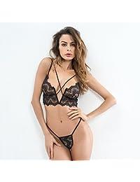 Liu Sensen Lencería para Mujeres Lencería Sexy Encaje Negro Sujetador De  Pecho Desnudo Bikini Backless Trajes Negros Trajes Ropa Interior… ecb70fd1c582
