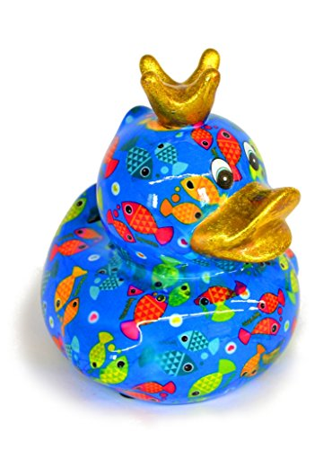 Pomme Pidou Ente Betty Blau mit Fischen (Blaue Keramik-ente)