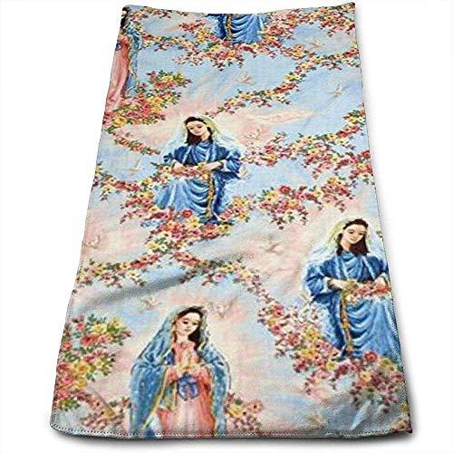 Bert-Collins Towel Nuestra Señora Virgen de Guadalupe Cielo Personalidad Diversión Patrón Toallas faciales Fibra extrafina Súper Absorbente Toallas Suaves de Gimnasia