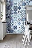 Wandaufkleber Portugiesische Blaue Küche Fliesendekor Ideen (Packung mit 48) (15 x 15 cm)