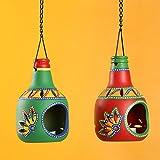 ExclusiveLane 'Bottle In Duet' Tealight Holders (Set Of 2)- Votive Candle Holders Seasonal Decorations Diyas & Lanterns Home Décor Diwali Gift