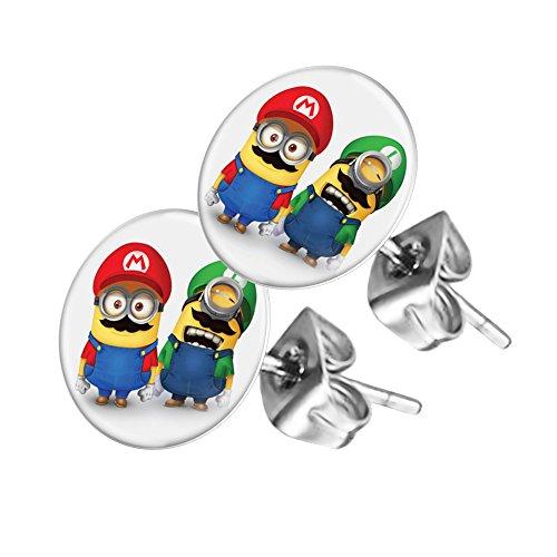 Piersando Ohrstecker Ohrringe Runde Kleine Stecker für Damen oder Kinder Silber mit Minions Super Mario Motiv