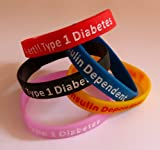 Type 1 Diabetes small child size silicone wristband in yellow