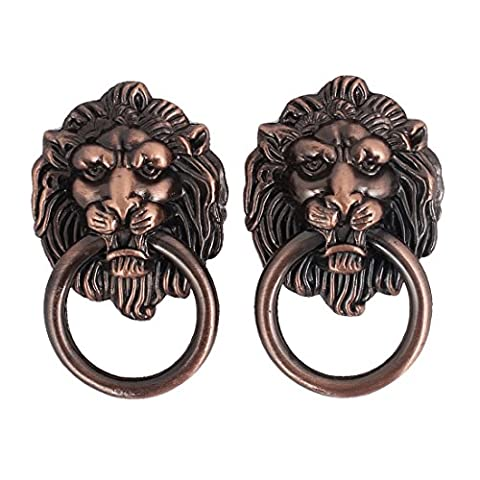 sourcingmap® Cupboard Cabinet Drawer Vintage Lion Head Ring Pull Knob Handle 2 Pcs