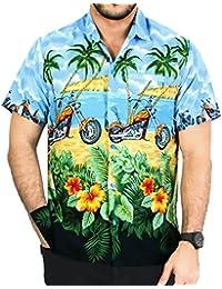 La Leela le bouton de aloha hawaïen hommes manches courtes vers le bas motos occasionnels rouler chemise bleu xs - 5xl
