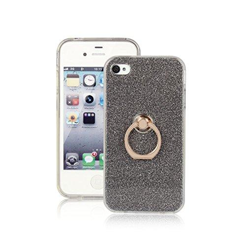 Xifanzi iPhone 4 4S Hülle,[Weiche TPU Abdeckung + Glitzer Papier] 3in1 Hybrid Hülle mit 360°drehbar Kickstand Finger Griff Halter Hülle für Apple iPhone 4 /iPhone 4S -- Schwarz (Iphone 4s Rücken)