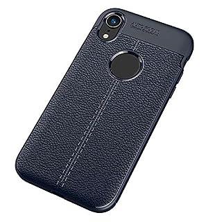 Igemy Litchi Streifen Flip Leder Ständer Halter Hülle Fit iPhone XS (Blau)