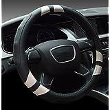 Dee-Type cubierta universal de volante de cuero, 38cm, negra y blanco