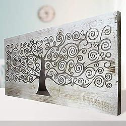 Cuadro Mandala de Pared Calada, Fabricada artesanalmente en España- Mandala 3D Cuadrada Pintada a Mano- Modelo Mosaico 150- Blanco Envejecido (Blanco Envejecido, 60x150cm)