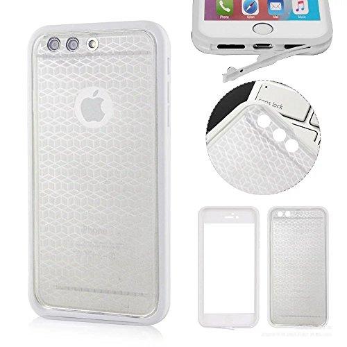 MOMDAD iPhone 7 Plus Blanc Coque iPhone 7 Plus Transparent Coque iPhone 7 Plus 5.5 Pouces TPU Silicone Housse iPhone 7 Plus Souple Case Cover Ultra-Slim avec Fonction Bouchon Anti-poussière pour iPhon étanche-Transparent