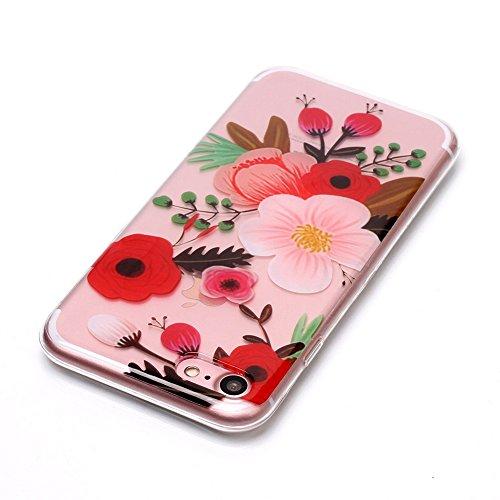 Cover Per iPhone 7 Plus/iPhone 8 Plus 5.5 La cover è carinissima?Funyye Silicone Custodia Morbida Trasparente con Disegno Cristallo Chiaro Sottile Leggero Flessibile Antiurto Antiscivolo Morbida TPU+ Fiore rosso