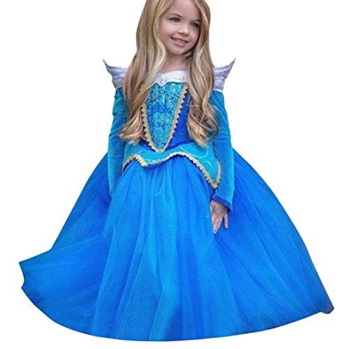 Vestito Abito Principessa Costume Ragazza frozen Bambina Principessa Vestito Carnevale Tulle Diadema Cosplay Compleanno Carnevale Abito Ragazze belle Disney Costumi Vestire Beauty Top (Blu, 4-5 anni)