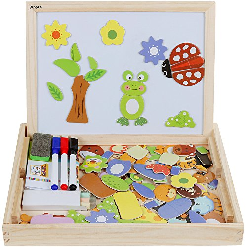 Anpro Magnetisches Holzpuzzle mit Doppelseitiger Tafel, 110 Stück pädagogisches Holzspielzeug Lernspielzeug Staffelei Doodle für Kinder ab 3 Jahre alt Test