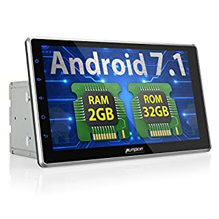 PUMPKIN Android 7.1 32GB + 2GB Autoradio Multimedia Player mit GPS Navi 10,1 Zoll 25,5cm Bildschirm Unterstützt Bluetooth WLAN DAB+ USB MicroSD Fastboot Rückfahrkamera Subwoofer 2 Din Universal