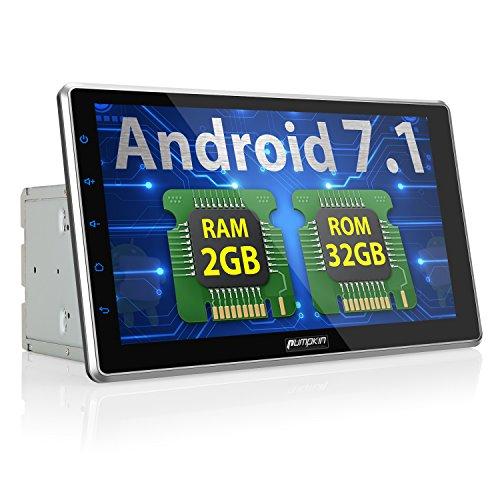 Kamera Autoradio Mit Doppel Din (PUMPKIN Android 7.1 32GB + 2GB Autoradio Multimedia Player mit GPS Navi 10,1 Zoll 25,5cm Bildschirm Unterstützt Bluetooth WLAN DAB+ USB MicroSD Fastboot Rückfahrkamera Subwoofer 2 Din Universal)