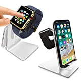 Orzly® - DuoStand Charge Station für Apple Watch & iPhone - Aluminium Aufladegestell (SILBER) fuer das IPhone und Apple Watch - Geeignet fuer iPhone Modelle: 5/5S/5C/6/6 PLUS & AppleWatch (42mm & 38mm) (original BASIC model / SPORT version / edition models