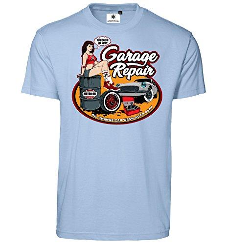 Bedrucktes Herren Oldtimer Racer T-Shirt Garage Repair im Comic Style (L, Hellblau)