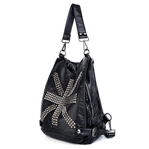 Uto donna borse a zainetto con la forma bandiera britannica rivetto perno in pelle sintetica borsetta borsa stile rock nero