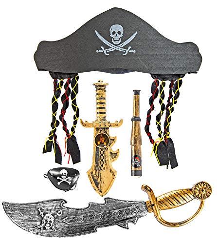 Nerd Clear Piraten-Set 5-teilig für Kinder | Augenklappe, Säbel, Hut mit Rasterlocken, Dolch, Fernrohr |ideal für Karneval, Fasching, Halloween ()