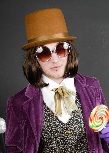 Willy Wonka Stil Fancy Dress braun Herren Perücke