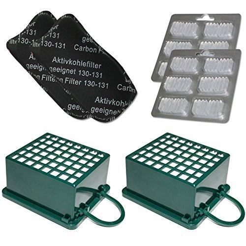 Lote de 2 filtros HEPA/EPA + 2 filtros para el olor + 12 ambientadores para aspiradoras Vorwerk Folletto Kobold VK 130, 131 SC, VK130, VK131.