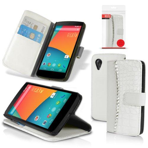 Orzly ® - Rocksie Case - per NEXUS 5 con SENSORI di AUTO STANDBY per SONNO / RISVEGLIO + COPERCHIO MAGNETICO e SOSTEGNO SUPPORTO INTEGRATO - Copertura di protezione in BIANCO con design gioiello incastonato e stile di pelle della coccodrillo + PORTAFOGLIO INTEGRATO - Progetto in esclusiva per LG / GOOGLE NEXUS 5 - 2013 modello SmartPhone / Celulare